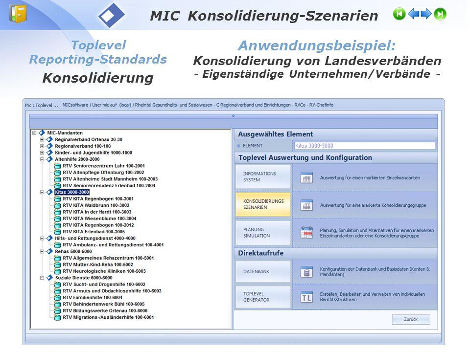 MIC Konsolidierung-Szenarien Anwendungsbeispiel: Konsolidierung