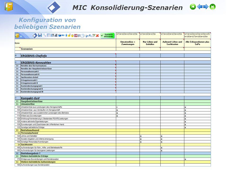 MIC Konsolidierung-Szenarien Konfiguration von beliebigen Szenarien