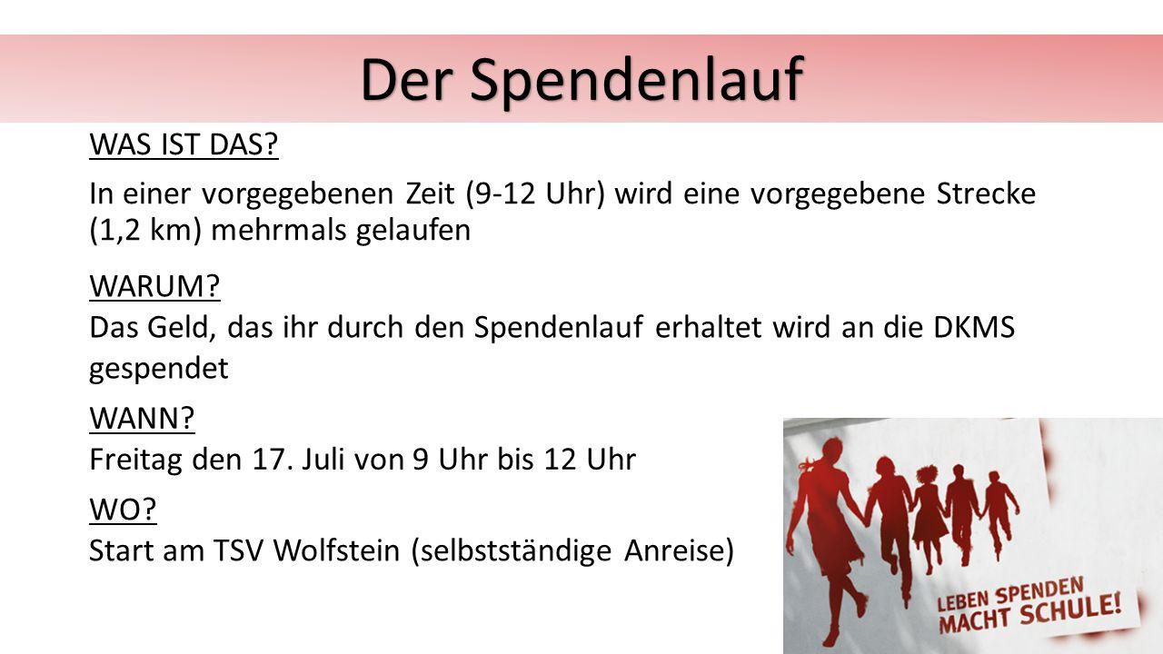 Der Spendenlauf WAS IST DAS In einer vorgegebenen Zeit (9-12 Uhr) wird eine vorgegebene Strecke (1,2 km) mehrmals gelaufen