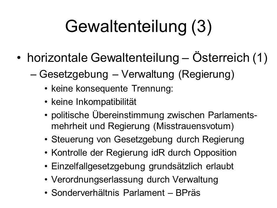 Gewaltenteilung (3) horizontale Gewaltenteilung – Österreich (1)