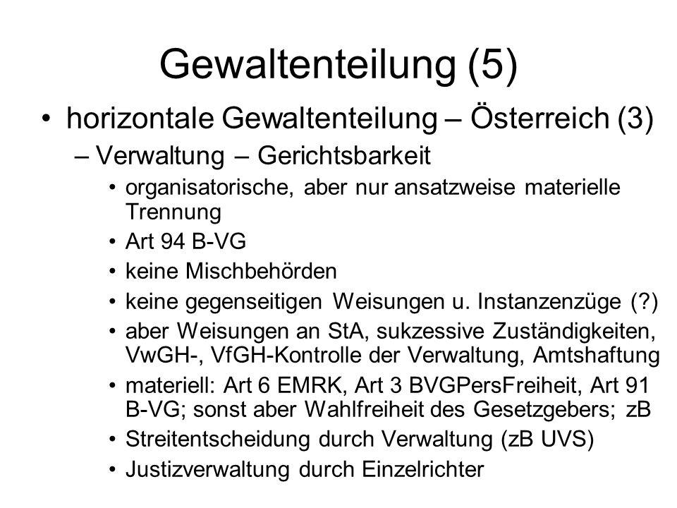 Gewaltenteilung (5) horizontale Gewaltenteilung – Österreich (3)