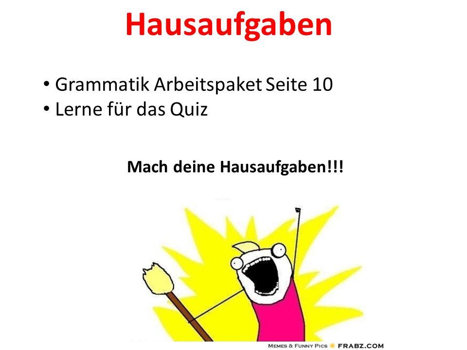 Hausaufgaben Grammatik Arbeitspaket Seite 10 Lerne für das Quiz