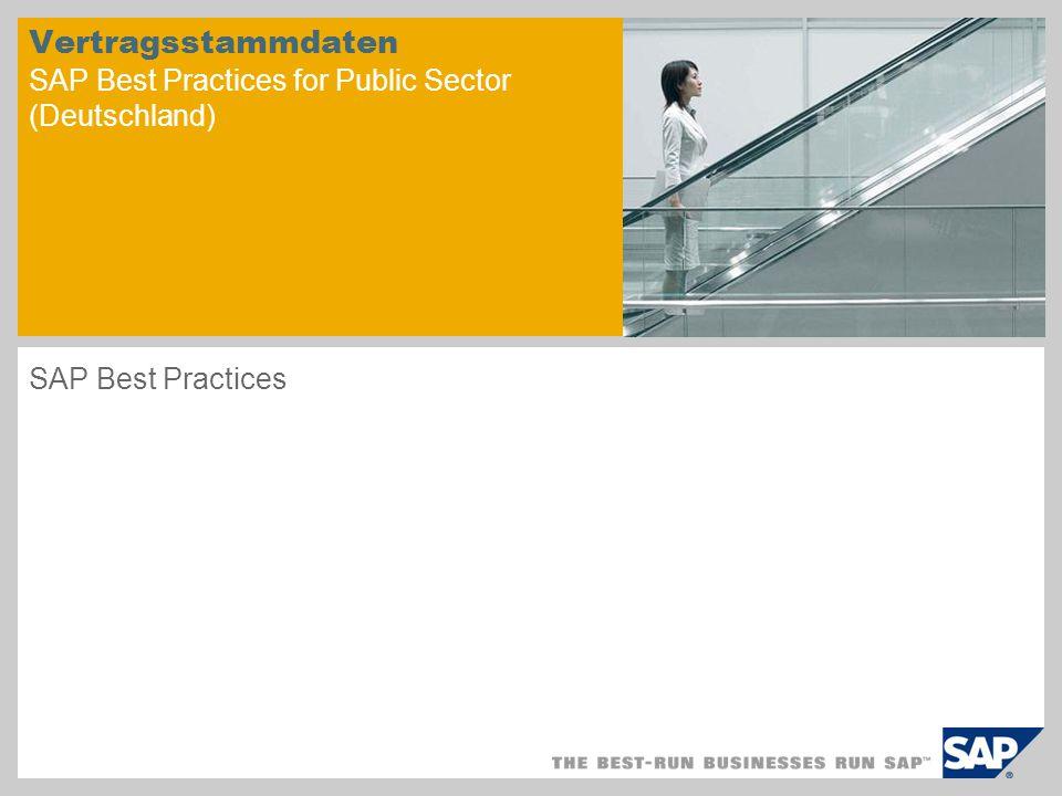 Vertragsstammdaten SAP Best Practices for Public Sector (Deutschland)