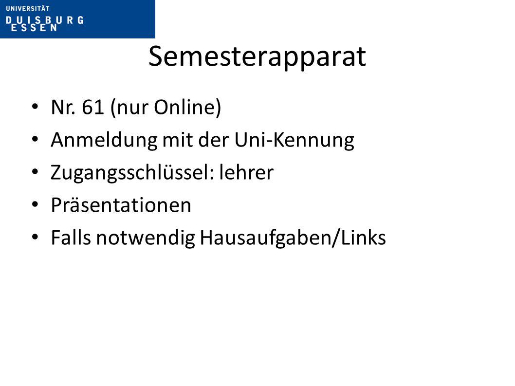 Semesterapparat Nr. 61 (nur Online) Anmeldung mit der Uni-Kennung
