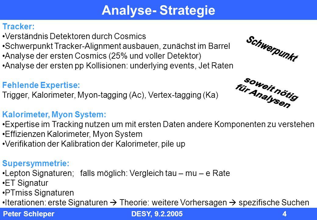 Analyse- Strategie Tracker: Verständnis Detektoren durch Cosmics