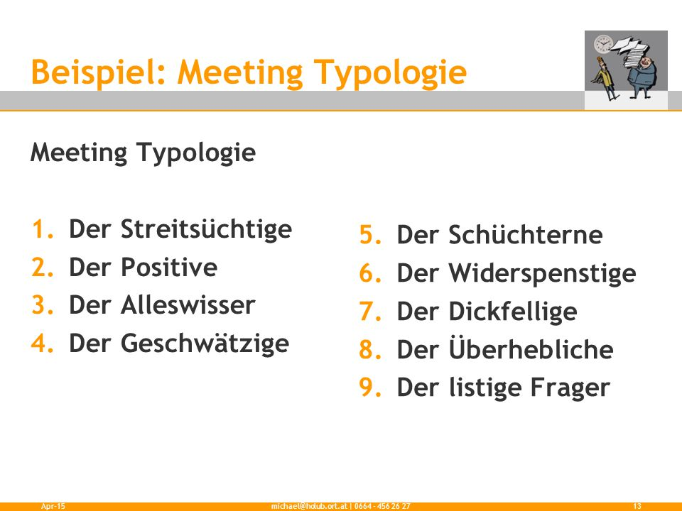 Beispiel: Meeting Typologie