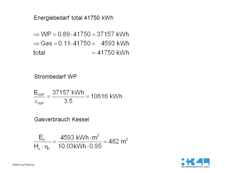 Energiebedarf total 41750 kWh