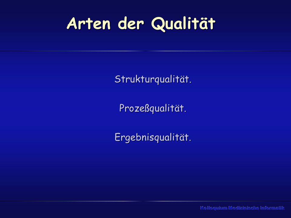 Arten der Qualität Strukturqualität. Prozeßqualität. Ergebnisqualität.