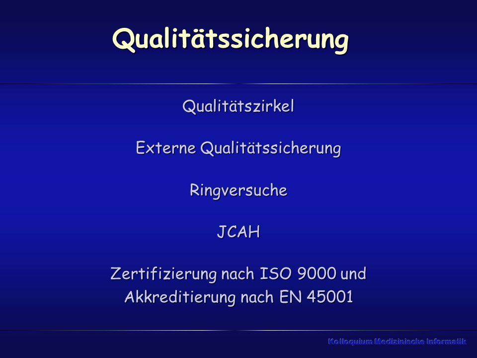 Qualitätssicherung Qualitätszirkel Externe Qualitätssicherung