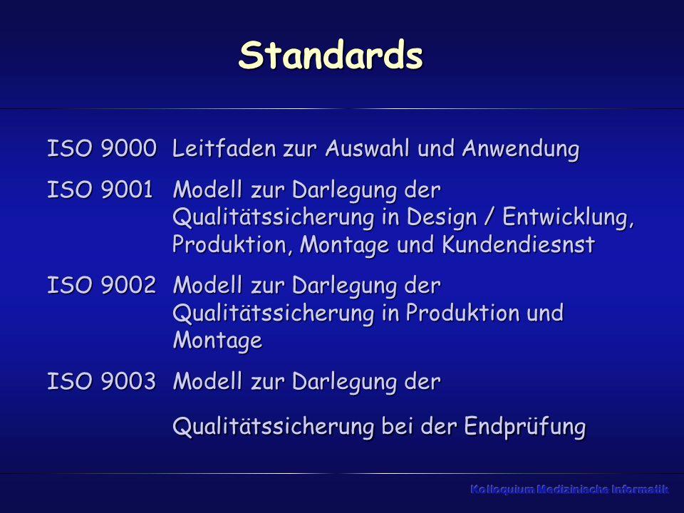 Standards ISO 9000 ISO 9001 ISO 9002 ISO 9003
