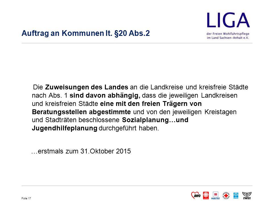 Auftrag an Kommunen lt. §20 Abs.2