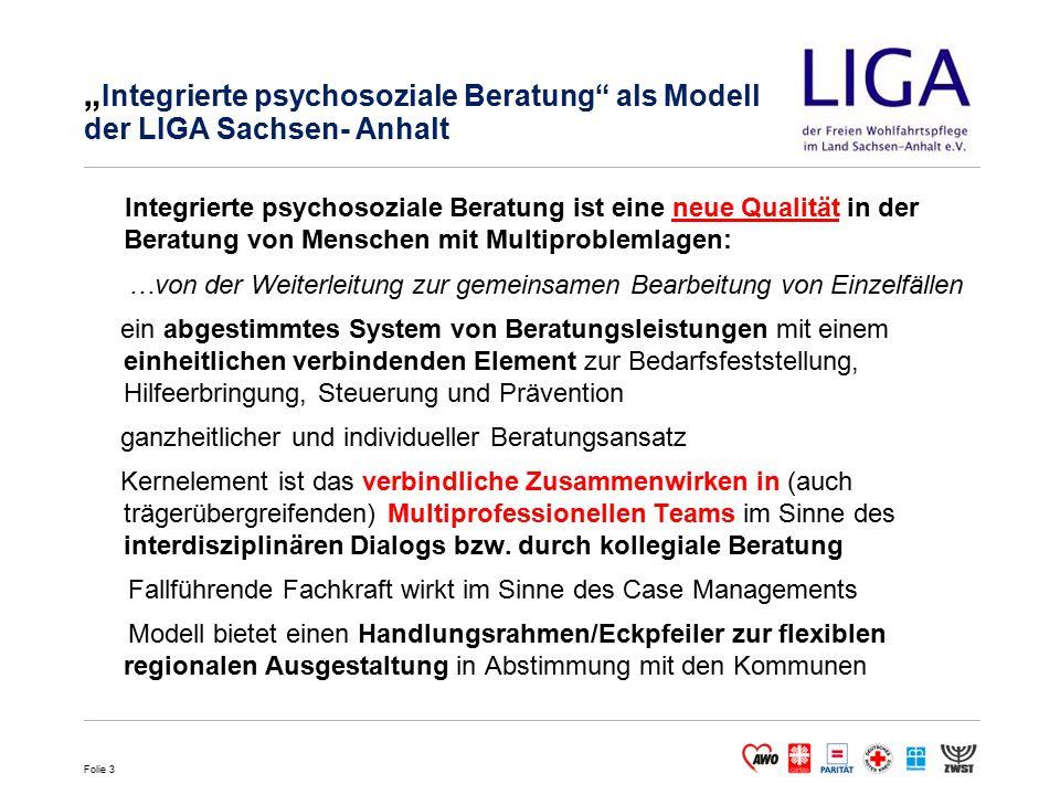 """""""Integrierte psychosoziale Beratung als Modell der LIGA Sachsen- Anhalt"""