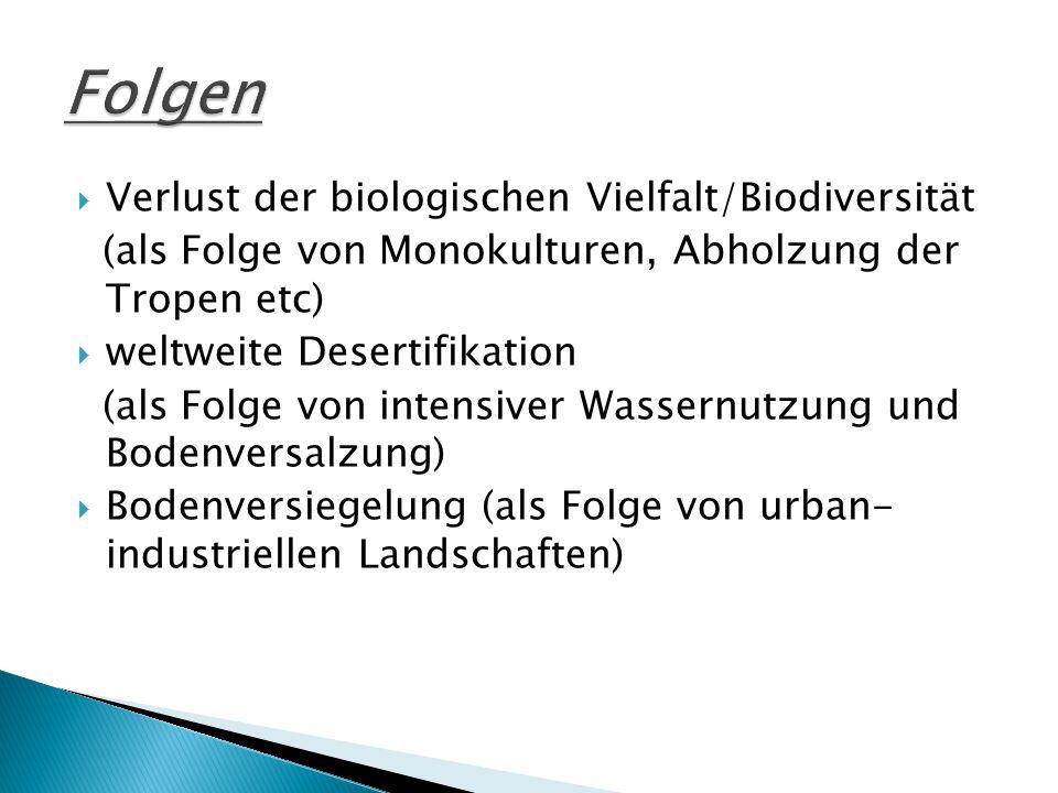 Folgen Verlust der biologischen Vielfalt/Biodiversität