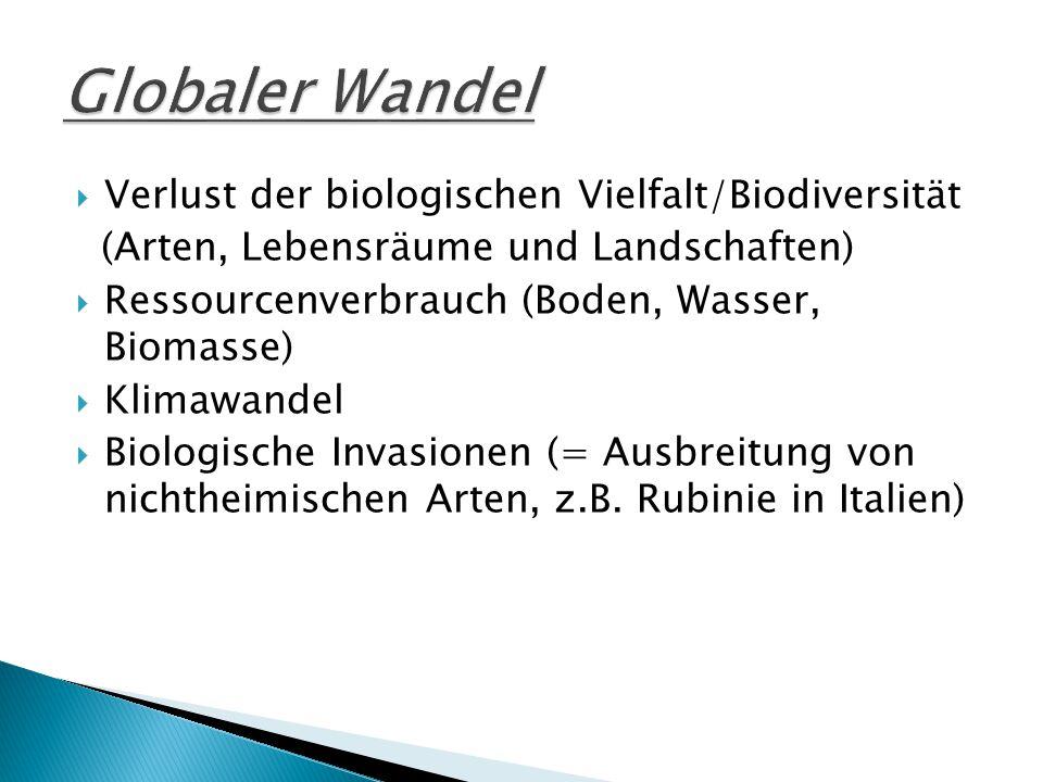 Globaler Wandel Verlust der biologischen Vielfalt/Biodiversität