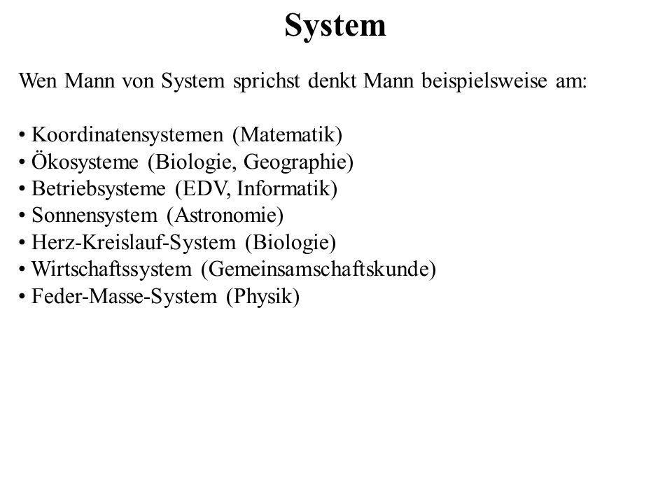 System Wen Mann von System sprichst denkt Mann beispielsweise am: