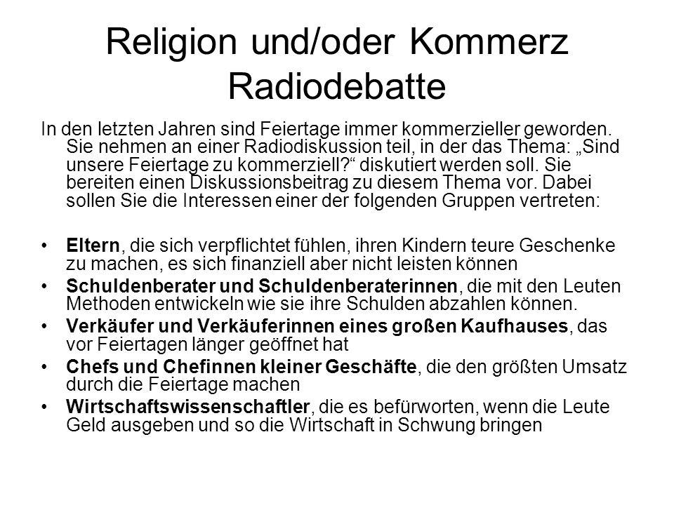 Religion und/oder Kommerz Radiodebatte
