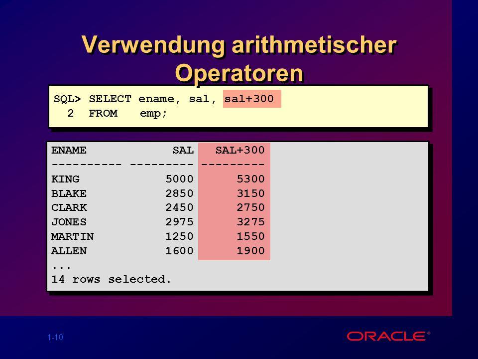 Verwendung arithmetischer Operatoren