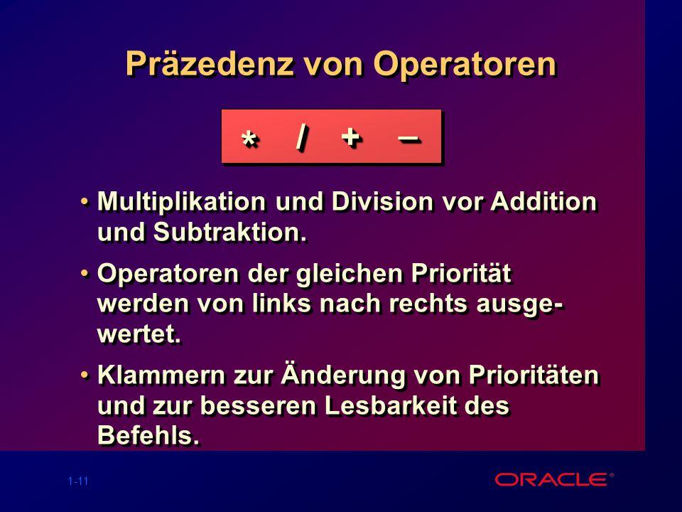 Präzedenz von Operatoren