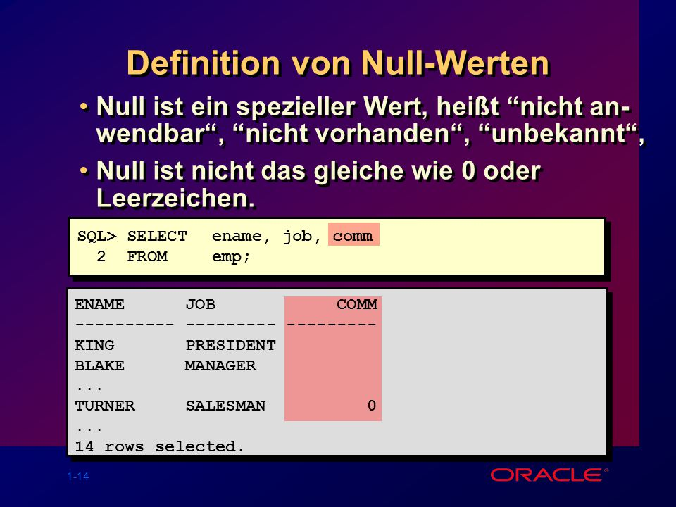 Definition von Null-Werten
