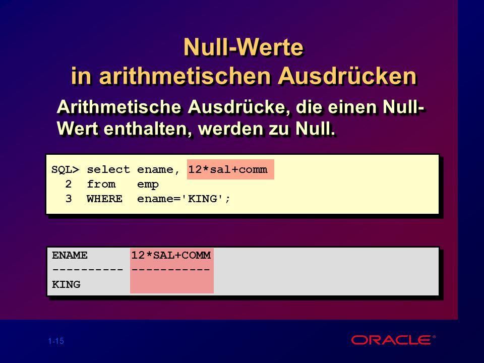 Null-Werte in arithmetischen Ausdrücken