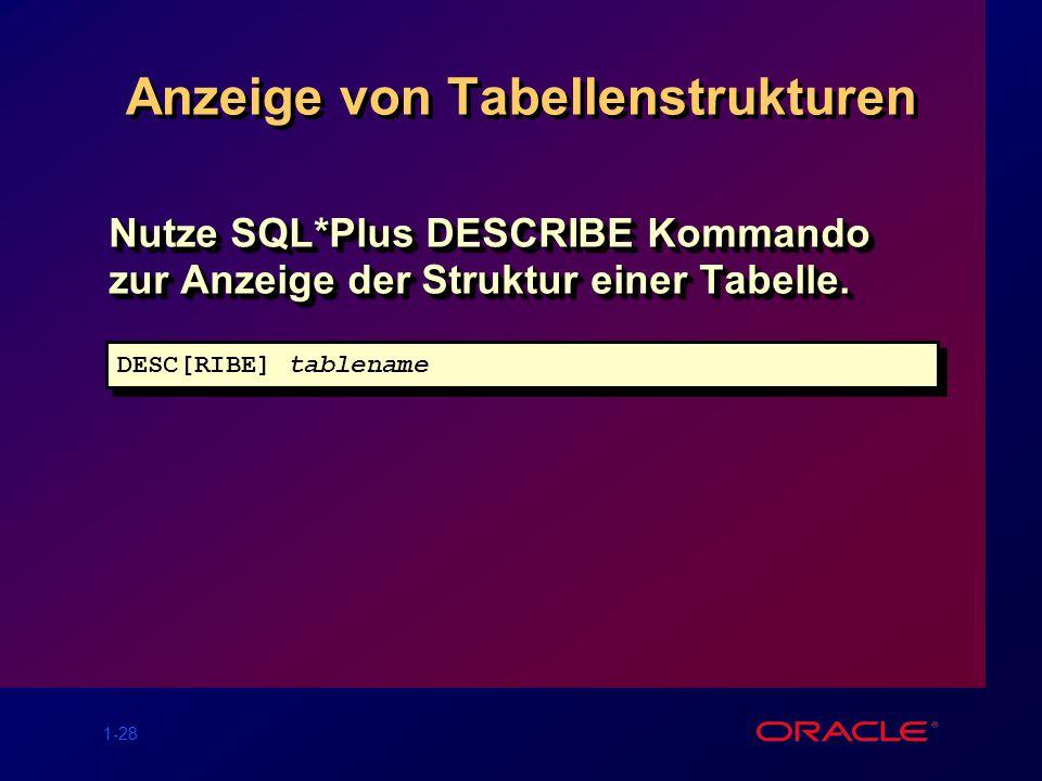 Anzeige von Tabellenstrukturen