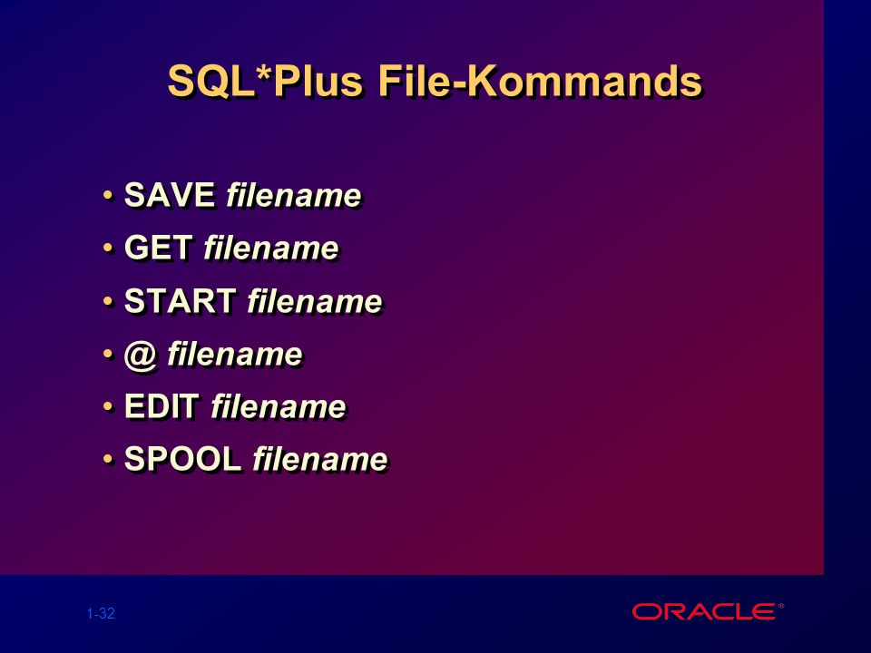 SQL*Plus File-Kommands