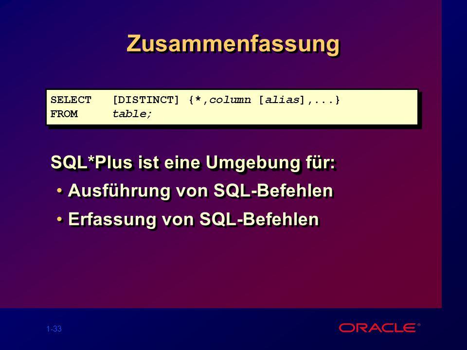 Zusammenfassung SQL*Plus ist eine Umgebung für: