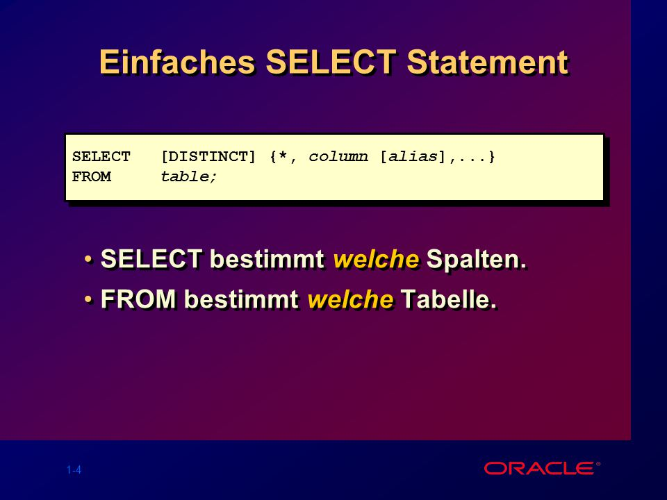 Einfaches SELECT Statement