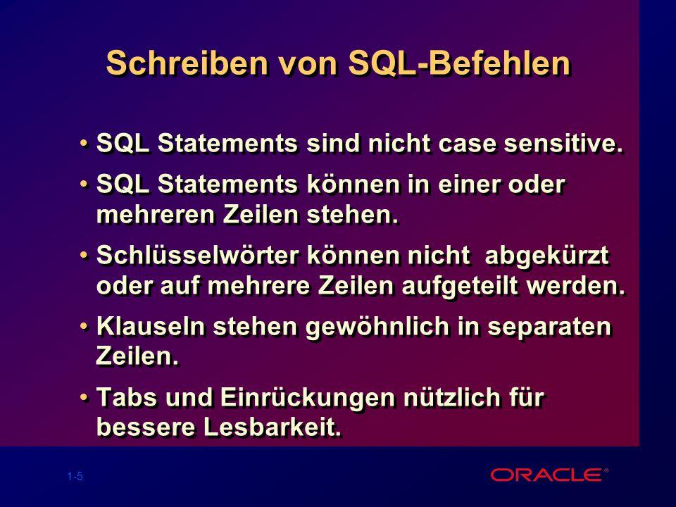 Schreiben von SQL-Befehlen