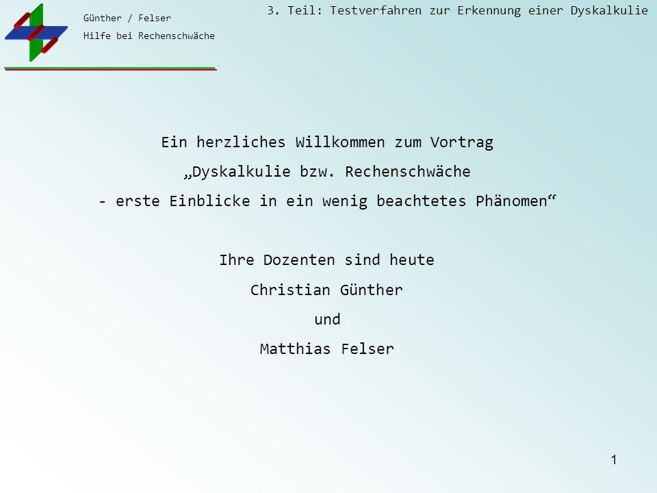 """Ein herzliches Willkommen zum Vortrag """"Dyskalkulie bzw. Rechenschwäche"""