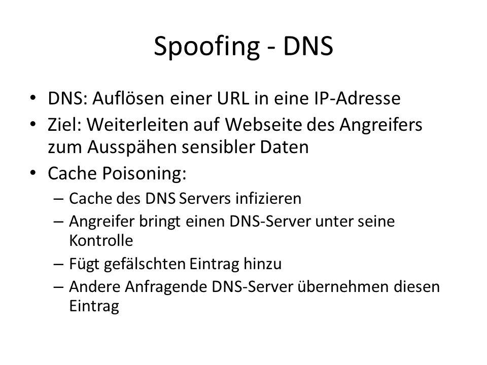 Spoofing - DNS DNS: Auflösen einer URL in eine IP-Adresse