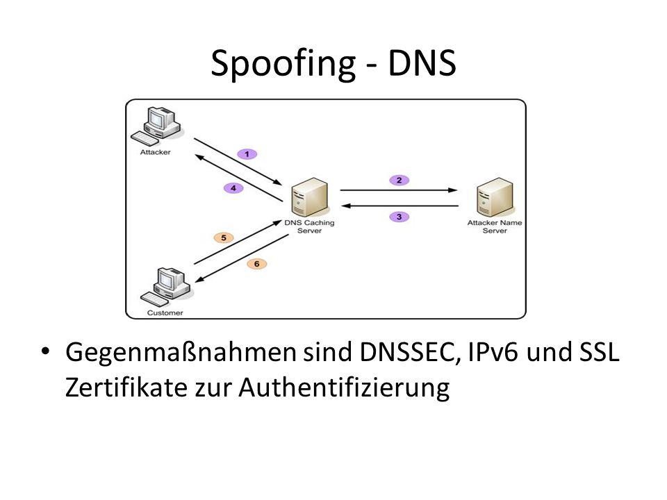 Spoofing - DNS Gegenmaßnahmen sind DNSSEC, IPv6 und SSL Zertifikate zur Authentifizierung