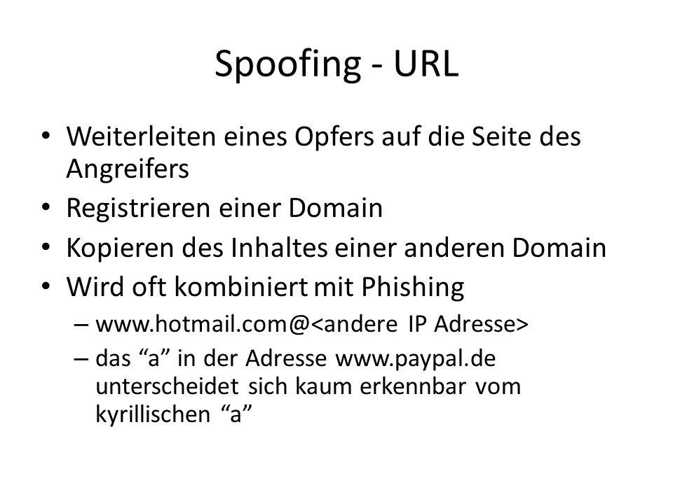 Spoofing - URL Weiterleiten eines Opfers auf die Seite des Angreifers