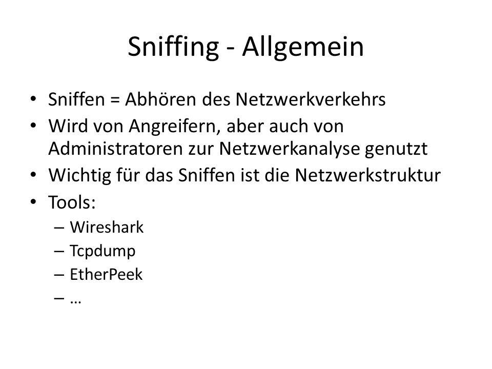 Sniffing - Allgemein Sniffen = Abhören des Netzwerkverkehrs