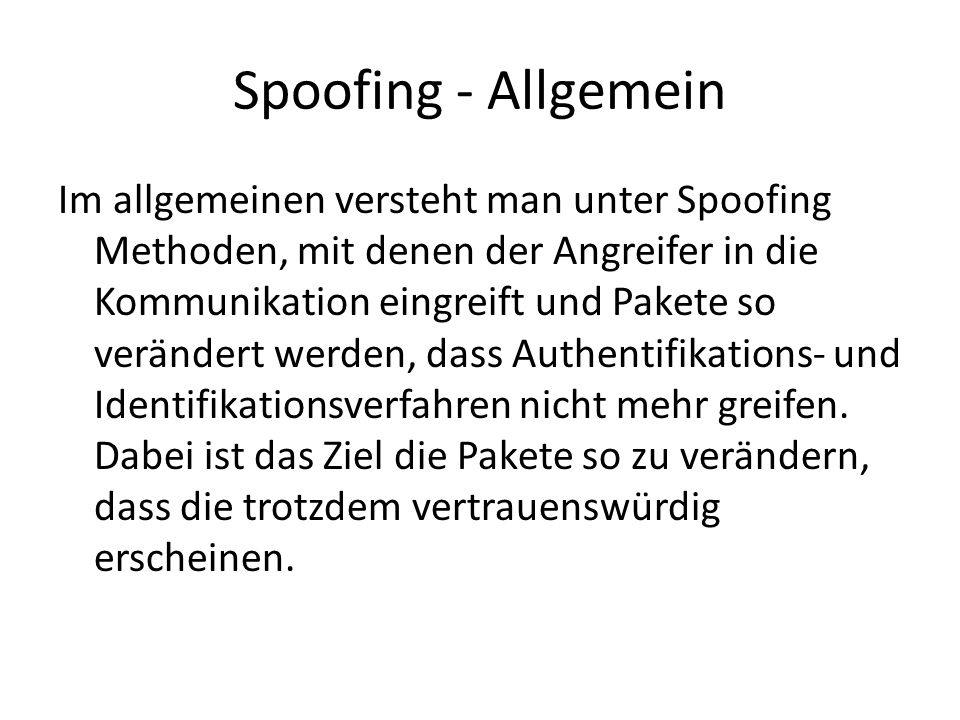 Spoofing - Allgemein