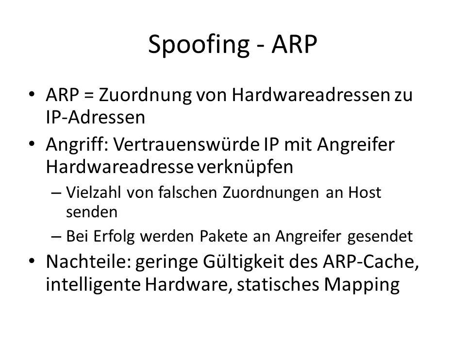Spoofing - ARP ARP = Zuordnung von Hardwareadressen zu IP-Adressen