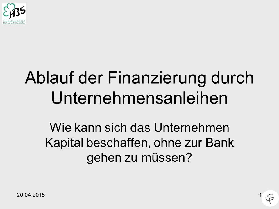 Ablauf der Finanzierung durch Unternehmensanleihen