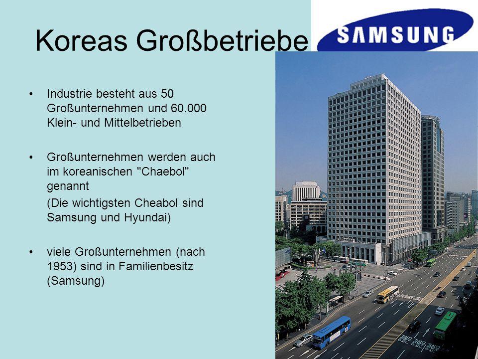 Koreas Großbetriebe Industrie besteht aus 50 Großunternehmen und 60.000 Klein- und Mittelbetrieben.