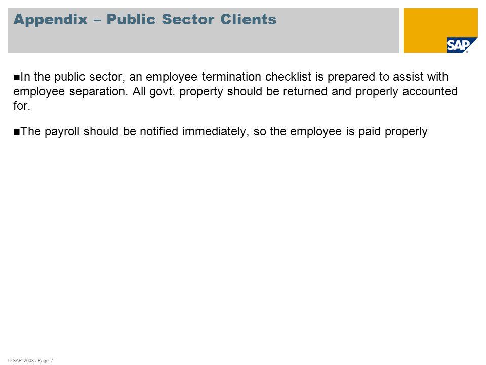 Appendix – Public Sector Clients