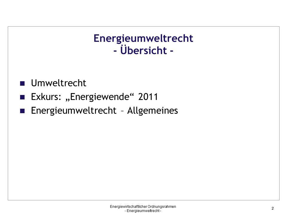 Energieumweltrecht - Übersicht -