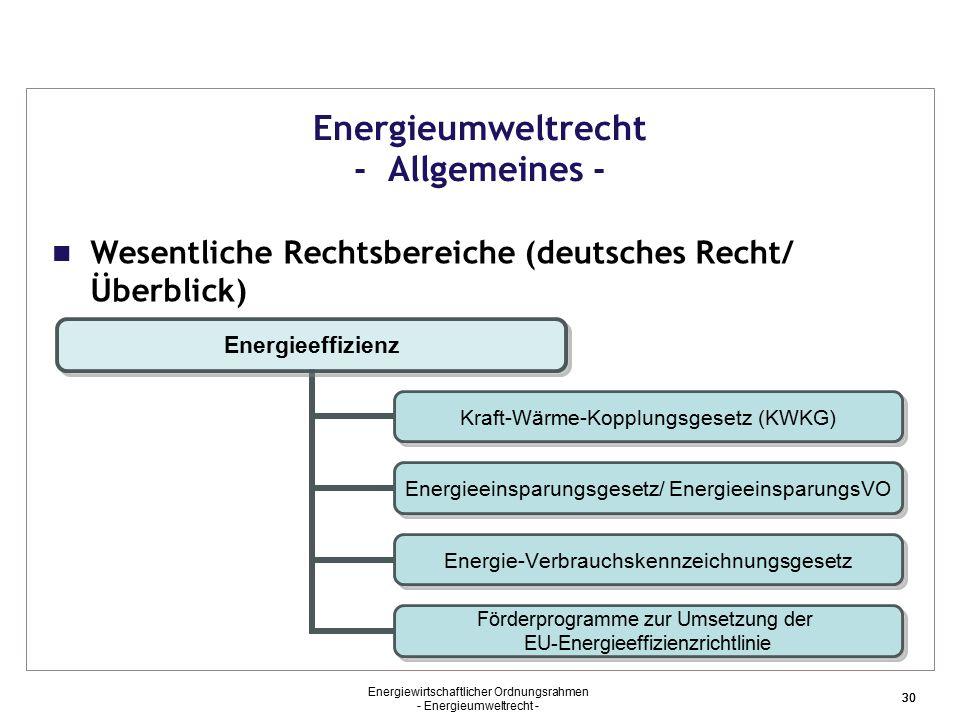 Energieumweltrecht - Allgemeines -