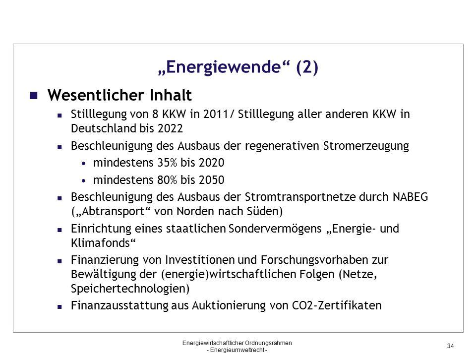 """""""Energiewende (2) Wesentlicher Inhalt"""