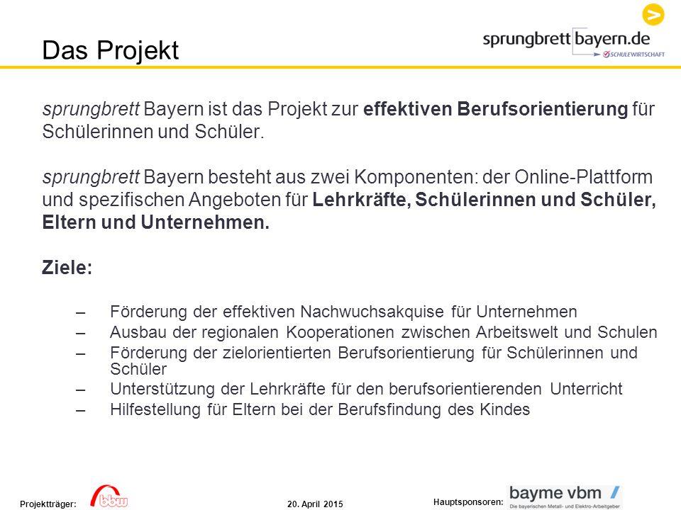 Das Projekt sprungbrett Bayern ist das Projekt zur effektiven Berufsorientierung für. Schülerinnen und Schüler.