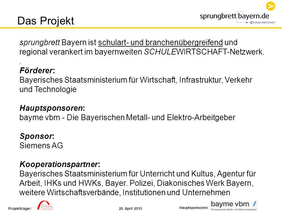 Das Projekt sprungbrett Bayern ist schulart- und branchenübergreifend und. regional verankert im bayernweiten SCHULEWIRTSCHAFT-Netzwerk.