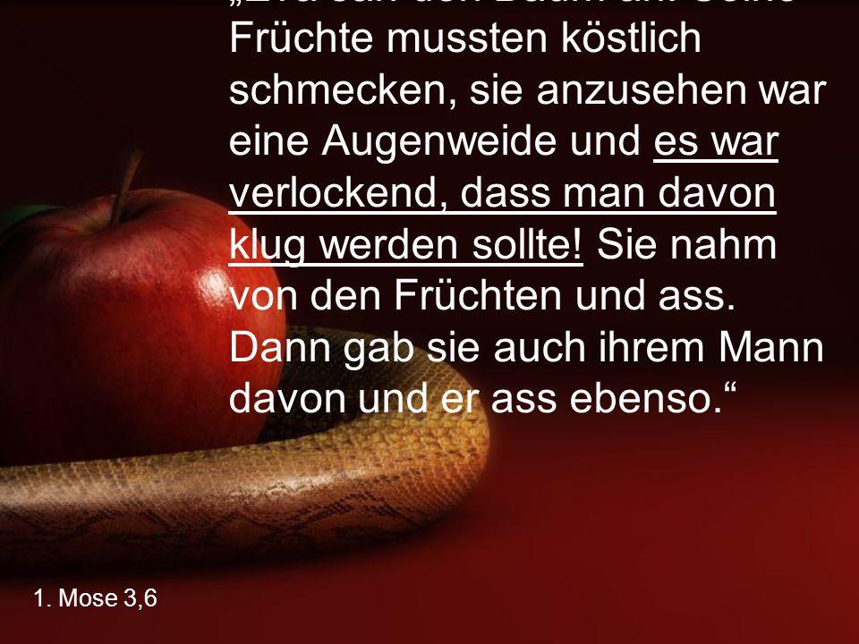 """""""Eva sah den Baum an: Seine Früchte mussten köstlich schmecken, sie anzusehen war eine Augenweide und es war verlockend, dass man davon klug werden sollte! Sie nahm von den Früchten und ass. Dann gab sie auch ihrem Mann davon und er ass ebenso."""