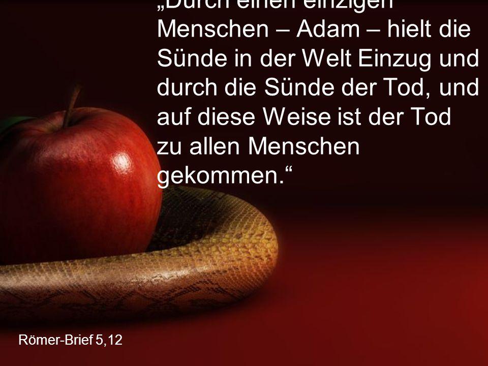 """""""Durch einen einzigen Menschen – Adam – hielt die Sünde in der Welt Einzug und durch die Sünde der Tod, und auf diese Weise ist der Tod zu allen Menschen gekommen."""