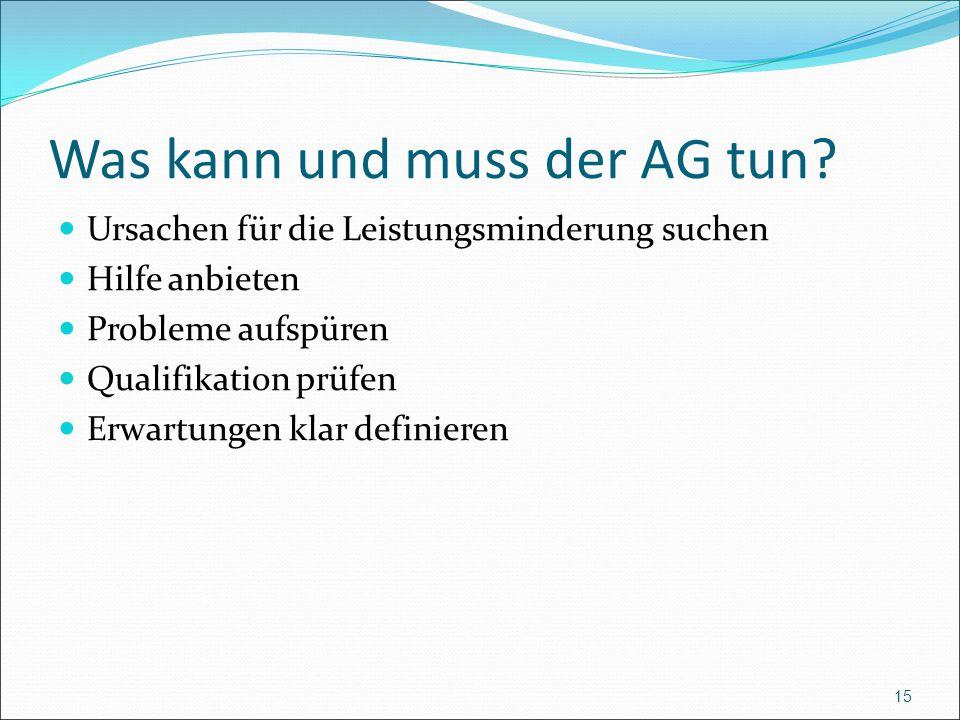 Was kann und muss der AG tun