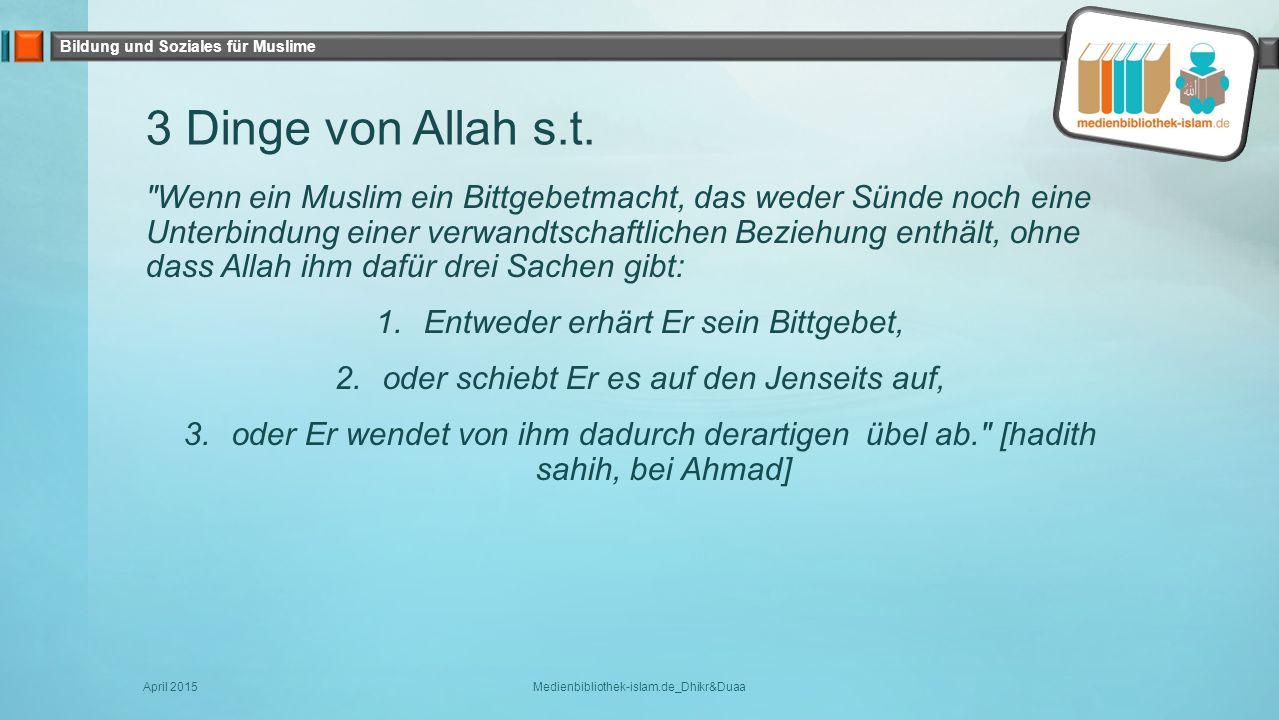 3 Dinge von Allah s.t.