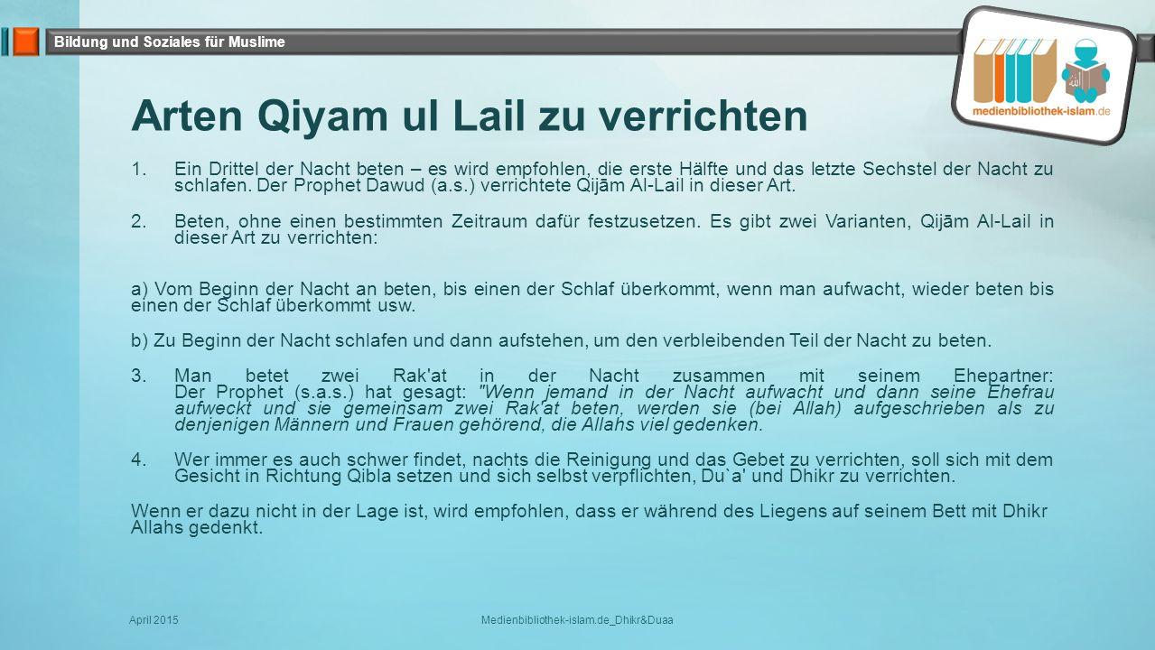 Arten Qiyam ul Lail zu verrichten