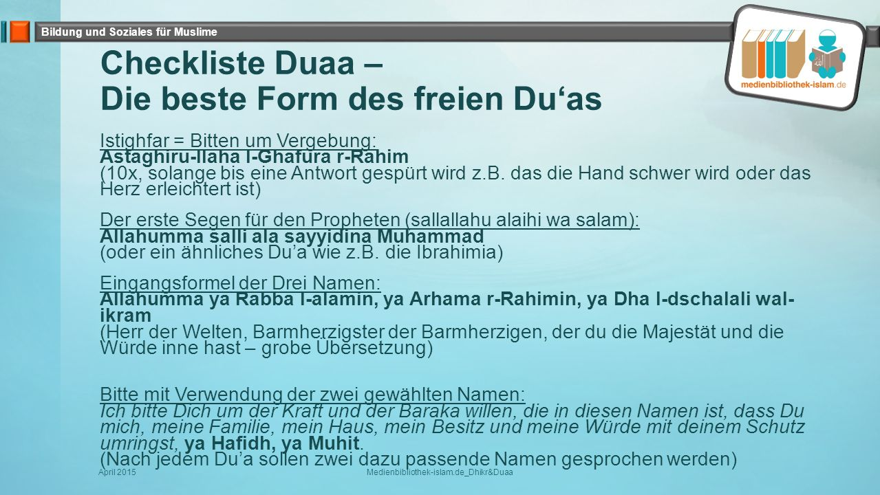 Checkliste Duaa – Die beste Form des freien Du'as